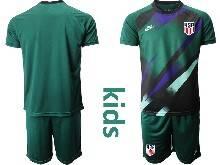 Youth 20-21 Soccer Usa National Team ( Custom Made ) Dark Green Goalkeeper Short Sleeve Suit Jersey