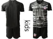 Kids 20-21 Soccer Usa National Team ( Custom Made ) Black Goalkeeper Short Sleeve Suit Jersey
