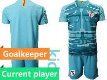 Kids 20-21 Soccer Usa National Team Current Player Blue Goalkeeper Short Sleeve Suit Jersey