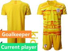 Youth 20-21 Soccer Usa National Team Current Player Yellow Goalkeeper Short Sleeve Suit Jersey