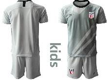 Kids 20-21 Soccer Usa National Team ( Custom Made ) Gray Goalkeeper Short Sleeve Suit Jersey