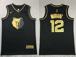 Mens Nba Memphis Grizzlies #12 Ja Morant Nike Black Gold Collection Limited Edition Jersey