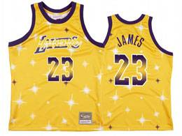 Mens Nba Los Angeles Lakers #23 Lebron James Gold Starry Mitchell&ness Swingman Hardwood Classics Jersey