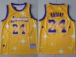 Mens Nba Los Angeles Lakers #24 Kobe Bryant Gold Starry Mitchell&ness Swingman Hardwood Classics Jersey