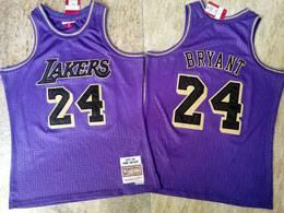 Mens Nba Los Angeles Lakers #24 Kobe Bryant Purple 2007-08 Mitchell&ness Swingman Hardwood Classics Jersey