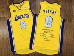 Mens Nba Los Angeles Lakers #8 Kobe Bryant Gold 2000-01 Mitchell&ness Swingman Hardwood Classics Jersey