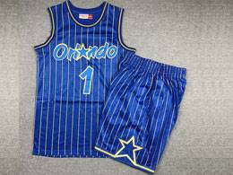 Mens Nba Orlando Magic #1 Anfernee Hardaway Blue Stripe 1994-95 Mitchell&ness Hardwood Classics Suit Jersey