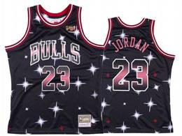 Mens Nba Chicago Bulls #23 Michael Jordan Black Starry Mitchell&ness Swingman Hardwood Classics Jersey