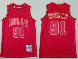Mens Nba Chicago Bulls #91 Dennis Rodman Red Number 1997-98 Mitchell&ness Hardwood Classics Jersey