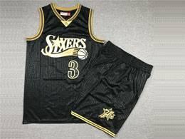 Mens Nba Philadelphia 76ers #3 Allen Iverson Black 2000-01 Mitchell&ness Hardwood Classics Suit Jersey
