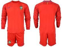 Mens 20-21 Soccer Brazil National Team ( Custom Made ) Red Goalkeeper Long Sleeve Suit Jersey