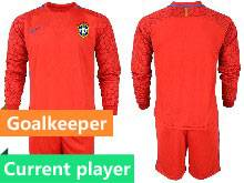 Mens 20-21 Soccer Brazil National Team Current Player Red Goalkeeper Long Sleeve Suit Jersey