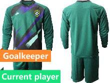Mens 20-21 Soccer Brazil National Team Current Player Dark Green Goalkeeper Long Sleeve Suit Jersey