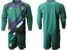 Mens 20-21 Soccer Brazil National Team ( Custom Made ) Dark Green Goalkeeper Long Sleeve Suit Jersey