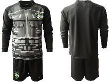 Mens 20-21 Soccer Brazil National Team ( Custom Made ) Black Goalkeeper Long Sleeve Suit Jersey