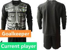 Mens 20-21 Soccer Brazil National Team Current Player Black Goalkeeper Long Sleeve Suit Jersey
