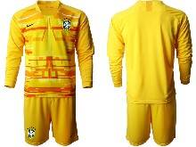 Mens 20-21 Soccer Brazil National Team ( Custom Made ) Yellow Goalkeeper Long Sleeve Suit Jersey
