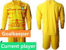 Mens 20-21 Soccer Brazil National Team Current Player Yellow Goalkeeper Long Sleeve Suit Jersey