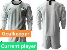 Mens 20-21 Soccer Brazil National Team Current Player Gray Goalkeeper Long Sleeve Suit Jersey