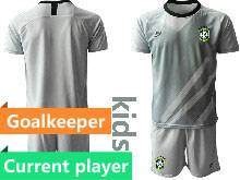 Kids 20-21 Soccer Brazil National Team Current Player Gray Goalkeeper Short Sleeve Suit Jersey