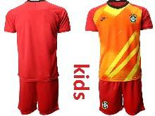 Kids 20-21 Soccer Brazil National Team ( Custom Made ) Red Goalkeeper Short Sleeve Suit Jersey