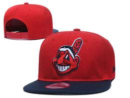 Mens Mlb Cleveland Indians Black And Red Snapback Adjustable Flat Hats 2 Color
