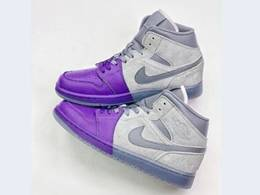 Mens And Women Nike Air Jordan 1 Mid Running Shoes Purple&gray Color