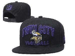 Mens Nfl Minnesota Vikings Black Team Patch City Name Snapback Adjustable Flat Hats