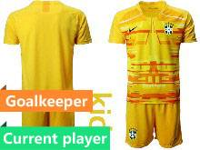 Kids 20-21 Soccer Brazil National Team Current Player Yellow Goalkeeper Short Sleeve Suit Jersey