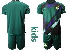Kids 20-21 Soccer Brazil National Team ( Custom Made ) Dark Green Goalkeeper Short Sleeve Suit Jersey