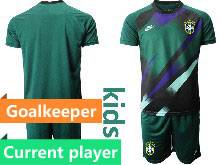 Kids 20-21 Soccer Brazil National Team Current Player Dark Green Goalkeeper Short Sleeve Suit Jersey