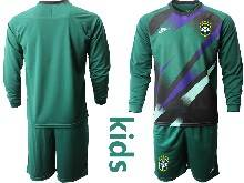Kids 20-21 Soccer Brazil National Team ( Custom Made ) Dark Green Goalkeeper Long Sleeve Suit Jersey
