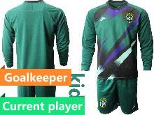 Kids 20-21 Soccer Brazil National Team Current Player Dark Green Goalkeeper Long Sleeve Suit Jersey