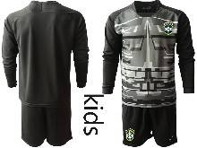 Kids 20-21 Soccer Brazil National Team ( Custom Made ) Black Goalkeeper Long Sleeve Suit Jersey