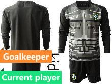 Kids 20-21 Soccer Brazil National Team Current Player Black Goalkeeper Long Sleeve Suit Jersey