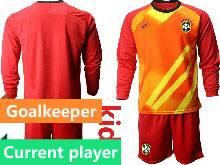 Kids 20-21 Soccer Brazil National Team Current Player Red Goalkeeper Long Sleeve Suit Jersey