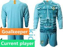 Kids 20-21 Soccer Brazil National Team Current Player Blue Goalkeeper Long Sleeve Suit Jersey