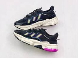 Mens And Women Adidas Ozweego 3m Running Shoes Black Color