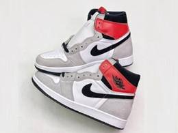 Mens And Women Air Jordan 1 Light Smoke Grey Running Shoes One Color