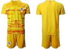 Mens Soccer Croatia National ( Custom Made ) Yellow 2020 European Cup Goalkeeper Short Sleeve Suit Jersey