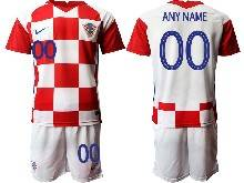 Mens Soccer Croatia National ( Custom Made ) Red And White 2020 European Cup Home Short Sleeve Suit Jersey