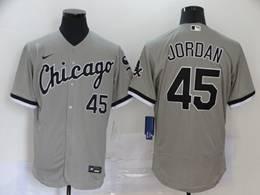 Mlb Chicago White Sox #45 Michael Jordan Gray Flex Base Nike Jersey