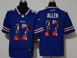 Mens Nfl Buffalo Bills #17 Josh Allen Blue Player Portrait Printing Vapor Untouchable Limited Jersey