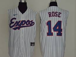 Mens Mlb Montreal Expos #14 Rose White Stripe 2020 Refreshing Sleeveless Fan Cool Base Nike Jersey