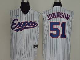 Mens Mlb Montreal Expos #51 Johnson White Stripe 2020 Refreshing Sleeveless Fan Cool Base Nike Jersey