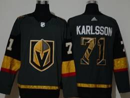 Mens Nhl Vegas Golden Knights #71 William Karlsso Black 2020 Team Logo Printing Adidas Jersey