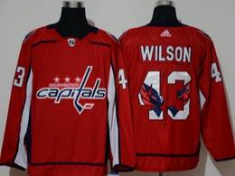 Mens Nhl Washington Capitals #43 Tom Wilson Red 2020 Team Logo Printing Adidas Jersey