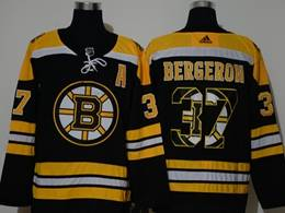 Mens Nhl Boston Bruins #37 Patrice Bergeron Black 2020 Team Logo Printing Adidas Jersey