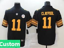 Mens Women Youth Nfl Pittsburgh Steelers 2020 Black Custom Made Color Rush Vapor Untouchable Limited Jersey