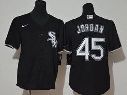 Women Youth Mlb Chicago White Sox #45 Michael Jordan Black Cool Base Nike Jersey